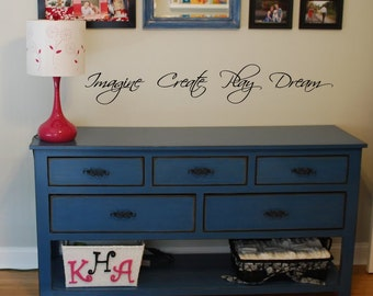 """Imagine Create Dream Play -  30"""" Wall Decal - great for art classroom - removable vinyl"""