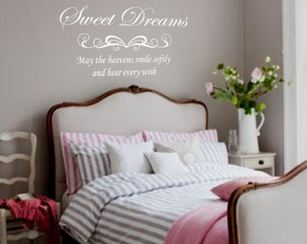 Bedroom Wall Decal - Sweet dreams - Removable Vinyl Lettering