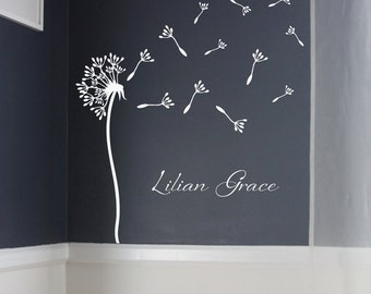 """34"""" dandelion with name - Wall Decal - removable vinyl"""