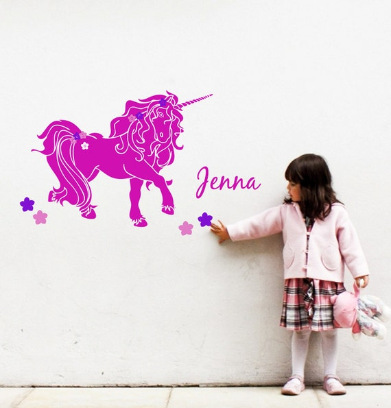 Unicorn Wall Decal With Name For Girly Room With Flowers And