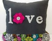 Gray-Pink Pop Love Pillow