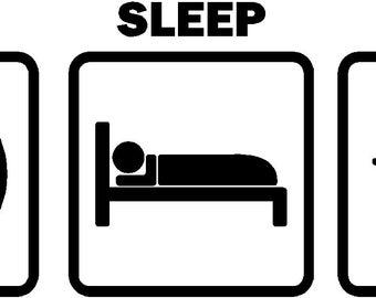 Eat Sleep Break Pool Car Decal Billiards Sticker Vinyl Graphic (Color White)