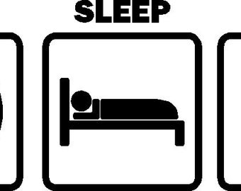 Eat Sleep Bungy Car Decal Bungy Sticker Vinyl Graphic (Color White)