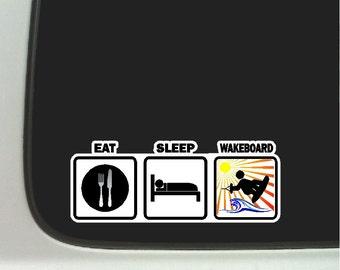 Eat Sleep Wakeboard Car Decal Window Laptop Wakeboarding Sticker