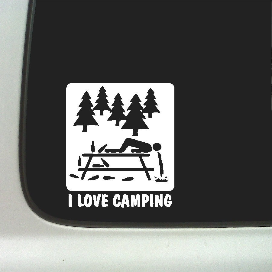 love camping Funny Car Decal Window Laptop Fun Camping