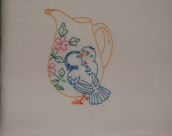 Robin Blue Bird Flour Sack Towels, Kitchen Tea Cup Towels, Embroidered, Retro ON SALE