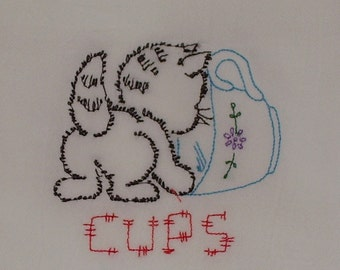 Kitty Cat Flour Sack Towels, Retro, Embroidered Kitchen Tea Cup Towels, ON SALE !!!