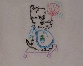 Scotty Dogs Flour Sack Towels, Retro Cleaning Scotty, Embroidered Kitchen Tea Cup Towels, ON SALE !!!