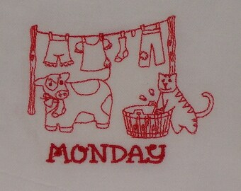 DOW Farm Flour Sack Towels, Cow, Cat, Horses, Pig, Embroidered Kitchen Tea Cup Towels, ON SALE !!!