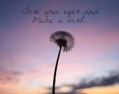 Make a wish digital download.  Dandelion against the sunset image. (blue, purple, black, yellow, orange)
