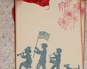 Memorial Day Tags -  Fourth of July Childrens Parade Gift Tags - Set of Six