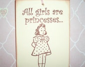 All Girls Are Princesses Gift Tags - All Occasion Tags - Birthday Tags - Princess Party- Set of Six