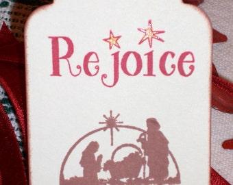 Christmas Gift Tags-Nativity Scene-Rejoice -  Set of Six