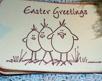 Easter Gift Tags - Three Chicks Easter Greetings - Set of Six