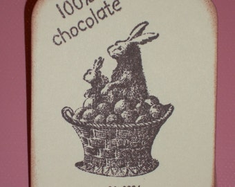 Easter Gift Tags - Victorian Chocolate Bunny Rabbits Gift Tags - Easter - Set of Six
