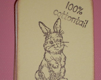 Easter Gift Tags - 100% Cottontail Bunny Rabbit Gift Tags - Easter - Set of Six