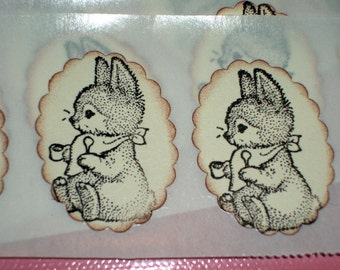 Easter Sticker Seals - Adorable Bunny Rabbit Stickers - Easter -Set of 12