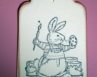 Easter Gift Tags - Bunny Rabbit Painting Easter Eggs - Set of Six