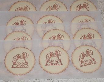 Easter Sticker Seals - Sweet Little Bunny Face -   Set of Twelve
