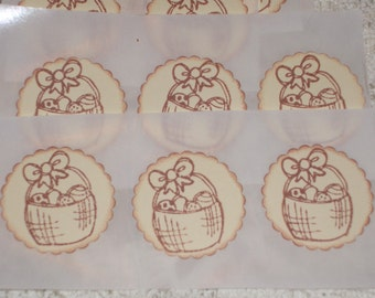 Easter Basket Sticker - Seals  -Set of Twelve