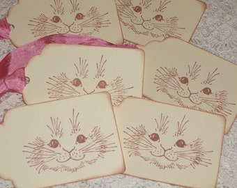 Easter Gift Tags - Adorable Bunny Rabbit Face - Sweet - Set of Six