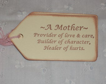Mothers Day Gift Tags - Definition of A Mother - Set of Six