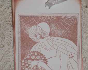 Wedding   Gift Tags -Beautiful Vintage Bride - Art Deco -  Wish Tree Tags - Wish Cards   -  Set of Six