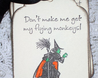 Wicked Witch in the Wizard of Oz - Flying Monkeys Gift Tags - Set of Six - Halloween
