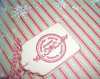 Christmas Gift Tags - Candy Cane Shoppe North Pole - Set of Six