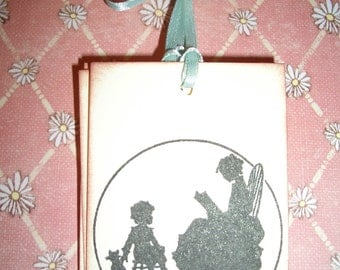 Gift Tags - Victorian - Mother Reading to Child Silhouette - Sweet - Set of Six