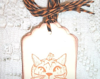 Halloween Gift Tags - Cat Pumpkin - Handmade - Set of Six - Kitty Cat Pumpkin