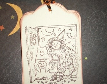 Halloween Gift Tags - Little Trick or Treaters - Set of Six - Handmade