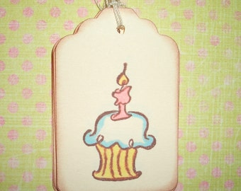 Cupcake  Birthday Gift Tags -  Birthday Gift Tags - All Occasion Gift Tag - Set of Six - Hand Colored
