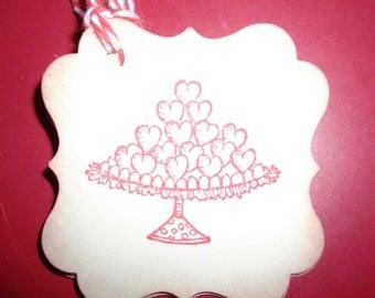 Valentine Tarts Gift Tags - Wish Tree Tags - Wedding Tags- Shower Tags- Set of Six
