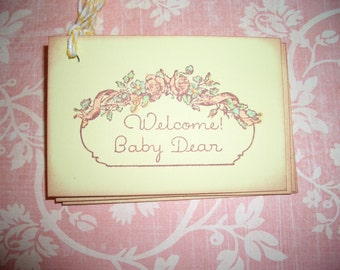 Welcome Baby Tags - Adorable Vintage Image - Baby Shower - Wish Tree Tags -  Set of Six