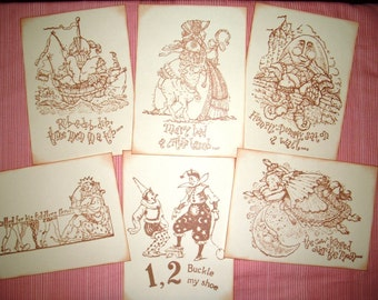 Nursery Rhyme Art - Set of Six -  Handmade - Mother Goose Rhymes - Vintage - Children Wall Art