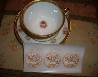 Tea and Roses Sticker Seals - Envelope Seals - Set of Twelve - Tea Party