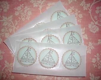 Baby Boy Sailboat Stickers  - Seals - Set of Twelve