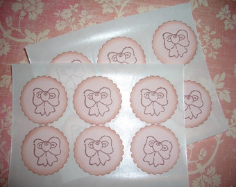 Baby Girl Stickers - Seals -  Little Bow -Set of Twelve