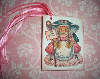 Little Bo Peep Tags - Nursery Rhymes - All Occasion- Birthday - Little Girls - Dolls - Set of Six - Vintage Image