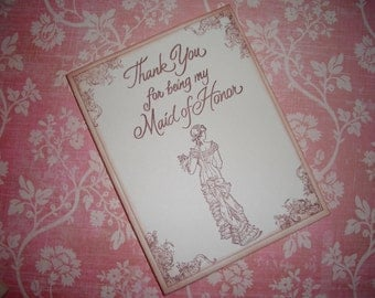 Wedding Card - Thank You for being my Maid of Honor - Beautiful Vintage Style Card