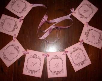 Tea Party Garland - Banner - Decoration - Vintage Script