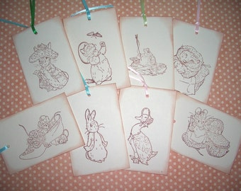 Beatrix Potter Gift Tags - 8 Assorted Peter Rabbit Characters - Baby Shower-Wish Tree Tags-Cards-Party Favor Tags-Set of Eight