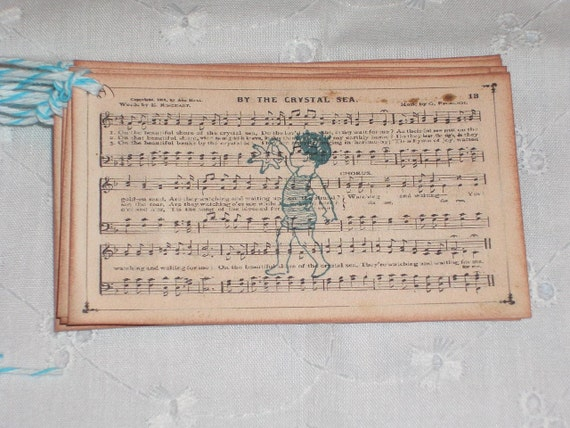Gift Tags - By The Crystal Sea - Set of Six - Victorian sheet music