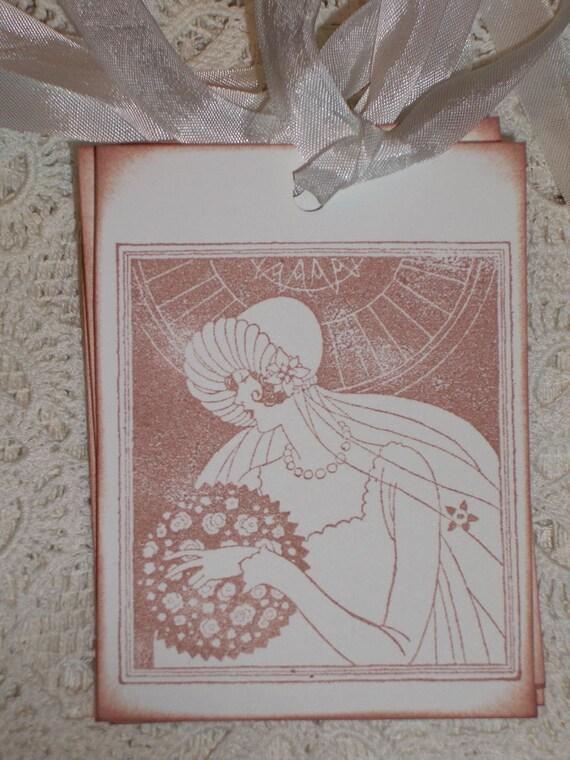 Wedding   Gift Tags -Beautiful Vintage Bride - Art Deco -  Wish Tree Tags - Wish Cards   -  Set of Six