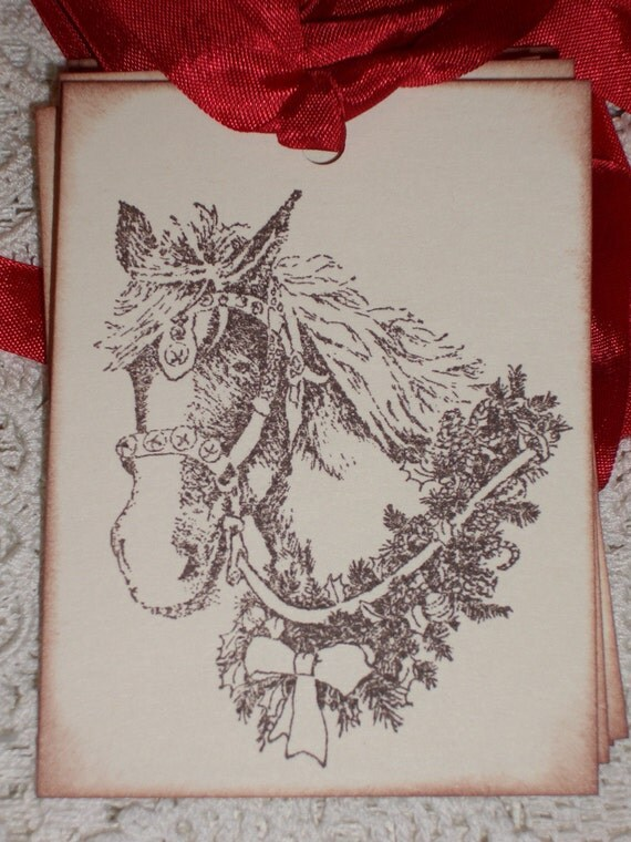 Clydesdale  Gift Tag -Christmas - Horse- Beautiful Set of Six