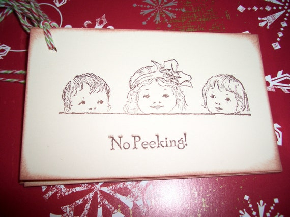 Christmas Gift Tags - No Peeking with Childrens Faces - Set of Six