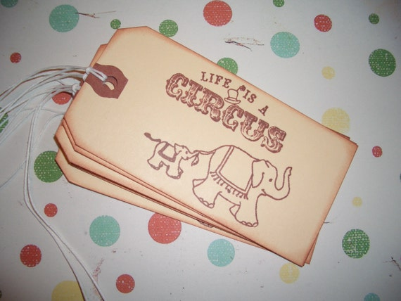 Circus Gift Tags -  Mommy and Baby Circus Elephants - Life Is A Circus - Set of Six - All Occasions - Birthday