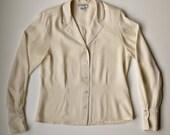 Vintage Christian Dior Cream Silk Long Sleeve Blouse