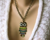 Woodland Critter - A Dangling Owl Necklace in Antique Gold